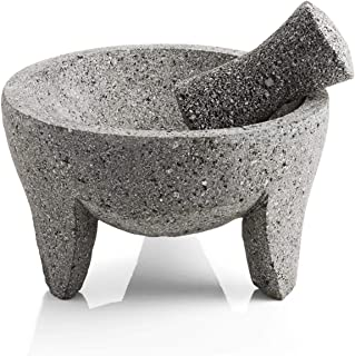 Authentic Mexican Volcanic Lava Rock Molcajete. Handmade Eight inch Large Mortar and Pestle.