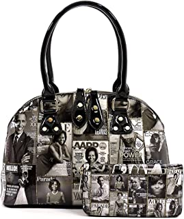 Glossy magazine cover collage dome satchel bag purses bowling bag Michelle Obama bags with wallet set 2 in 1