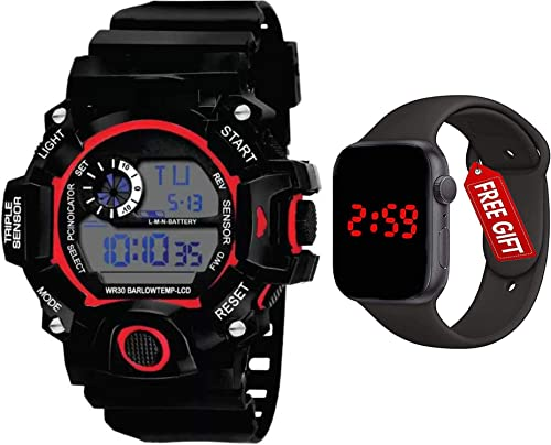 Brand A Digital Watch with Square LED Shockproof Multi Functional Automatic Black Waterproof Digital Sports Watch for Men s Kids Watch for Boys Watch for Men Pack of 2