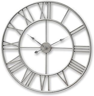 Reloj de pared hueco, elegante y de acabado envejecido, extragrande de 80 cm, plateado, con números romanos