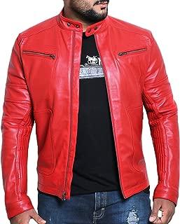 Men's Genuine Lambskin Leather Jacket (Black, Racer Jacket) - 1501476