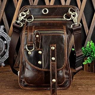 YWSCXMY-AU Real Leather Multifunction Men One Shoulder Messenger Bag Hook Waist Pack for Phone Cigarette Case Drop Leg Bag (Color : Coffee)