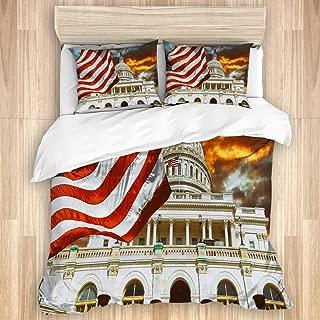 KUDOUXIA WashingtonDcUnitedStatesLandmarkNational Decorative Bedding Set 1 Duvet Cover with 2 Pillow Cases Twin/Twin XL