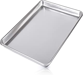 "Zulay Large Aluminum Baking Pan - Half Sheet (13"" x 18"") Baking Sheet For Oven - Perfect Cookie Sheet For Baking, Commercial Or Home Use - Heavy Duty & Encapsulated Rim Half Sheet Pans"