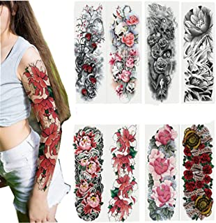 ShungFun Temporary Tattoos Stickers Extra Large Waterproof Flower Cool Tattoos Full Half Arm Tattoos Sleeves Body Makeup f...