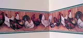 Rooster Wallpaper Border - Green Checks…