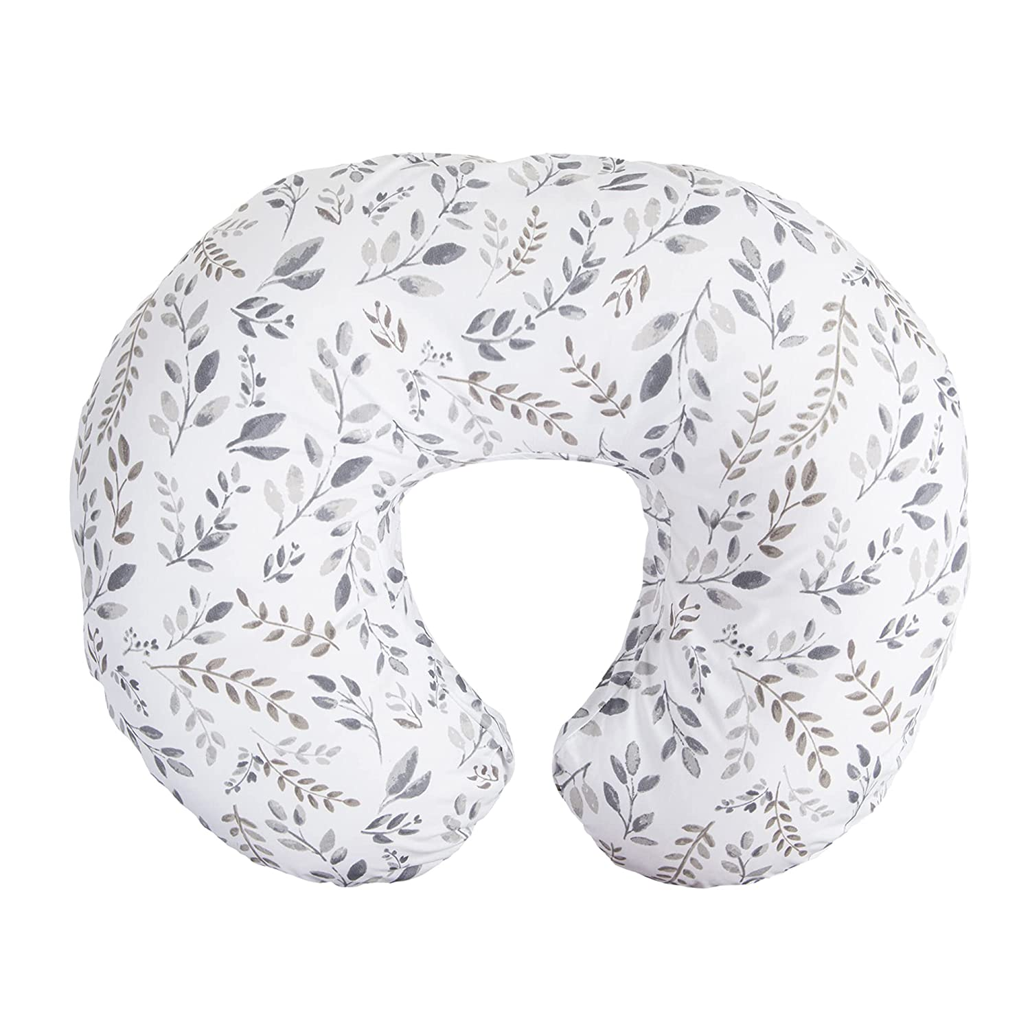 Boppy Nursing Pillow and Positioner—Original | Gray Taupe Watercolor Leaves | Breastfeeding, Bottle Feeding, Baby Support | with Removable Cotton Blend Cover | Awake-Time Support