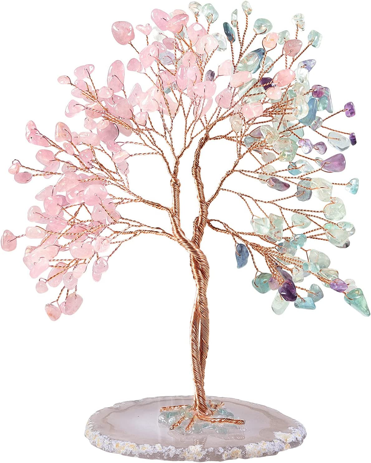 mookaitedecor Handmade Rose Quartz Choice Crystal Cheap sale Tree Fluorite with