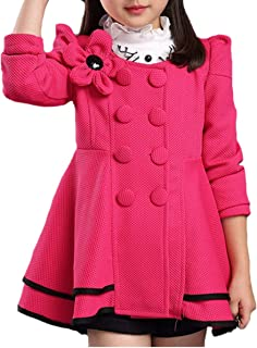 KONFA Girls Elegant Flower Hooded Wind Coat,Suitable for 5-14 Years old,Winter Warm Thick Outerwear Clothes