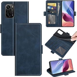 財布型 スマホケース レザー TPU カバー カード収納 スタンド機能 防塵 全面保護 ビジネス シンプル クラシック Xiaomi Redmi K40 / K40 Pro/Poco F3 用 - ブルー