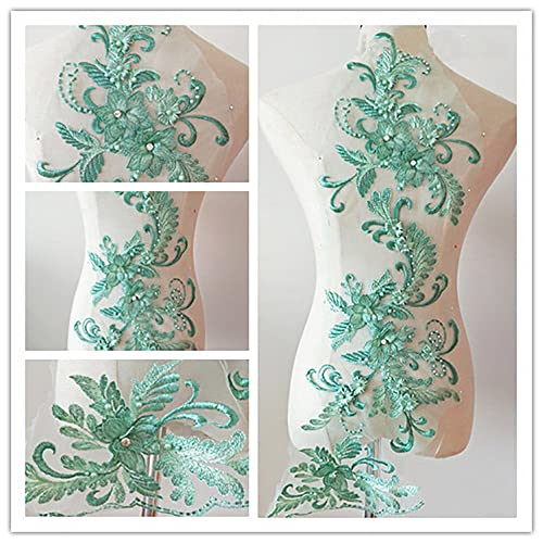 3D beaded flower sequence lace applique motif sewing bridal wedding 3in1  20cmx72cm (Mint Green) d38bc7423232