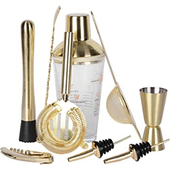 Premium Cocktail Shaker Bar Tools Set,9 Piece Brushed Gold Bartending Kit,Comes with Dublin glass martini shaker,Professional Bartender Drink Making Tools