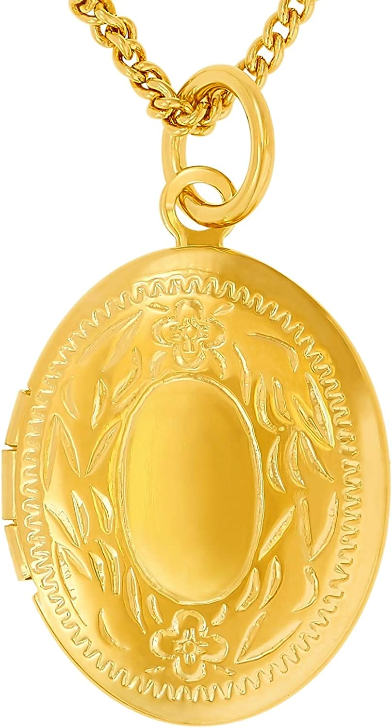 LIFETIME JEWELRY Oval Locket Necklace That Holds Pictures for Women and Girls