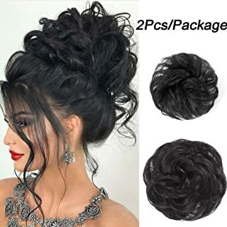 Stamped Glorious 2PCS 100% Real Human Bun Extensions Mixed Brown Messy Hair Scrunchies chignon hairpiece natural hair for women Kids Donut Updo Ponytail Hair Chignons (Natural Black)