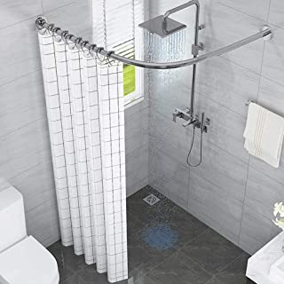 Curved Shower Curtain Rail Bar No Drilling Extendable Curtain Rod, 304 Stainless Steel Not Sagging, for Bathroom, Bathtub,...