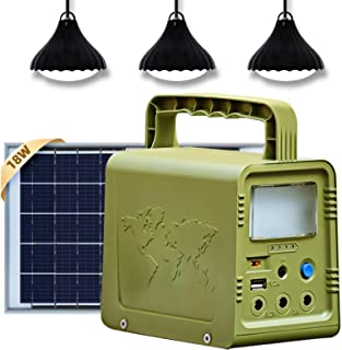 ECO-WORTHY Portable Solar Generator 84Wh Solar Light System with 4V 18W Solar Panel, Camping Lights,USB DC Outlets for Pow...