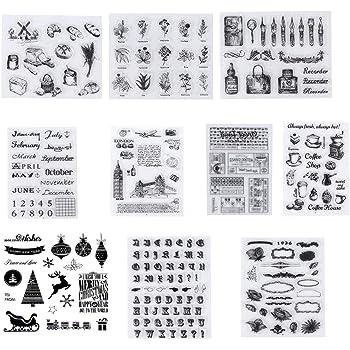 10 Piezas Sellos Transparentes, Silicona Sello,Transparente Álbum de Álbumes de Recortes para Manualidades Scrapbooking,Fotos Decoración,Postales de Recortes: Amazon.es: Hogar