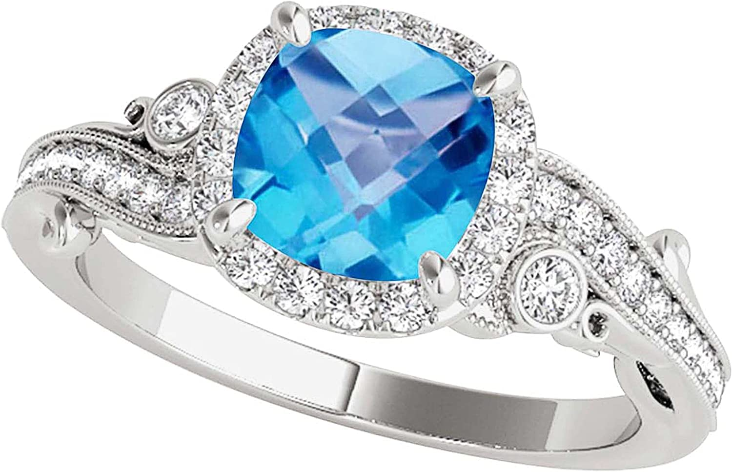 Aonejewelry Ranking TOP18 Same day shipping Blue Topaz Gemstone Engagement Women 10K for Rings