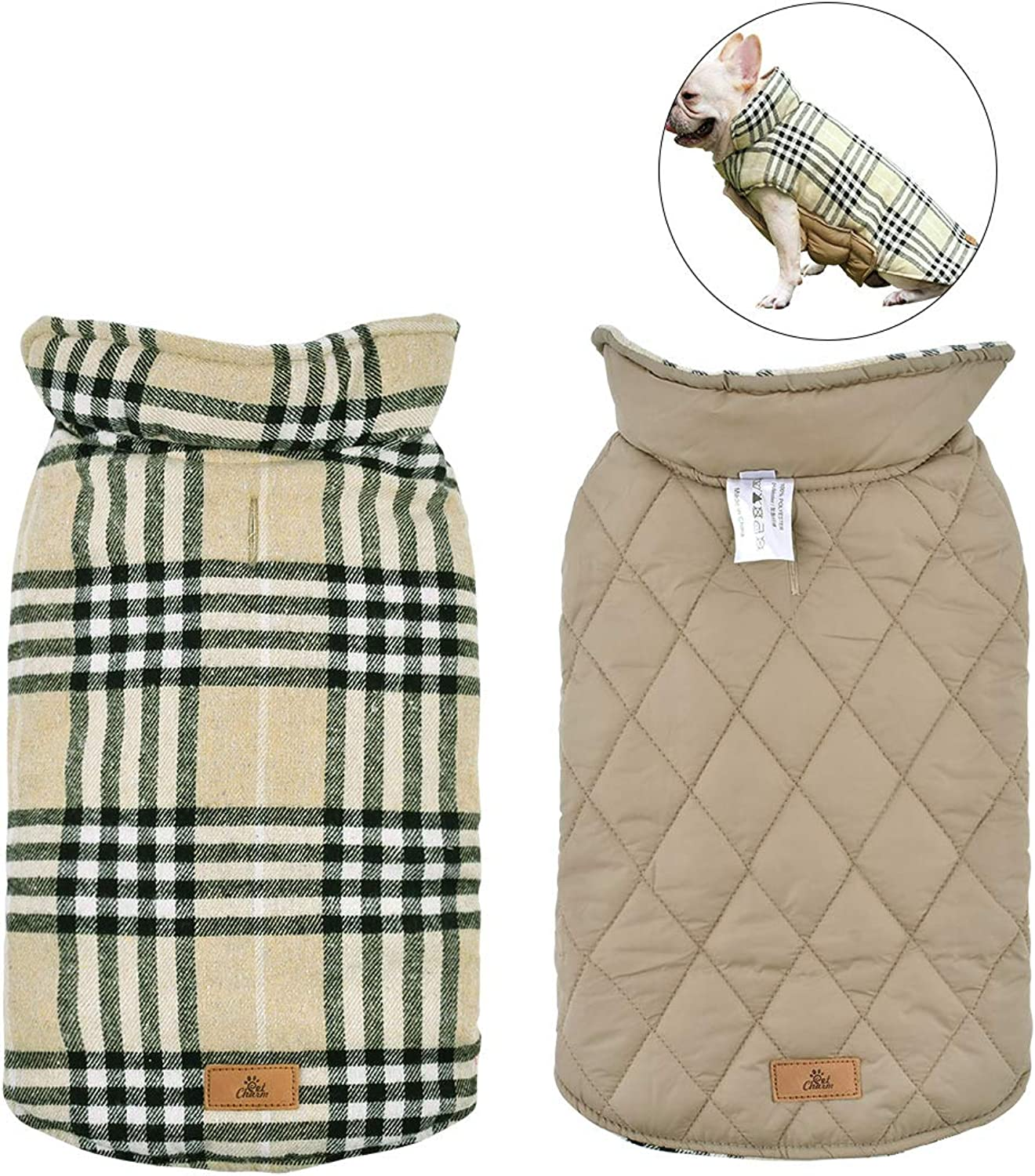Dog Coat Waterproof Reversible British Style Plaid Pet Jacket Dog Sweaters Windproof Winter Vest Small Medium Large Dog Clothes with Furry Collar Beige L