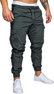 Yidarton Men's Cargo Pants Slim Fit Casual Jogger Pant Chino Trousers Sweatpants(dg,XL) Deep Gray