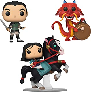 Funko Disney: POP! Mulan Collectors Set - Mulan on Khan, Mulan as Ping, Mushu with Gong