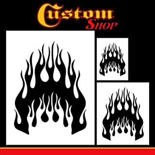 Custom Shop Airbrush Flame Licks Stencil Set (Flame Licks Design #1 in 3 Scale Sizes) - Laser Cut Reusable Templates - Auto, Motorcycle Graphic Art