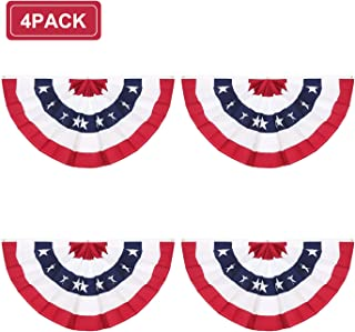 Rtudan American Pleated Fan Flag,3 X1.5 Ft USA Patriotic Flag Bunting Half Fan Banner Decoration Indoor/Outdoor(Set of 4)