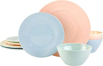 Gibson Overseas, Inc. Brist Pastels 12pc Dinnerware Set - 4 Assorted Colors - Melamine -