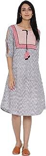 Desi Fusion Women Casual Tunic Maxi Printed Dress (Grey)