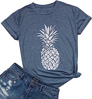 Short Sleeve Tops Pinapple T Shirt Women Funny Cute Fruit Graphic Tees Shirt Summer Casual Tops Shirts