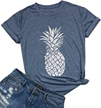 FAYALEQ Women's Hawaii Pineapple Print Funny T-Shirt Casual Short Sleeve Tee Tops Blouse