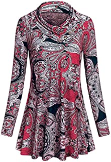 Xinantime Womens Loose Floral Print Tops Casual O-Neck Button Long Sleeve T-Shirt Blouse Dress Swing Tunic