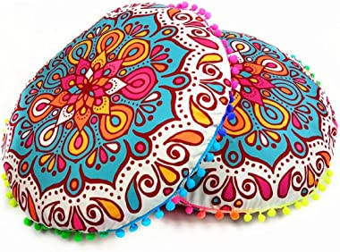 Franterd Floor Pillows Cases, Round Pillowcases, Indian Floor Cushions, Decorative Pillows Cases, Outdoor Cushion Cover, Boho Pillowcases (A)