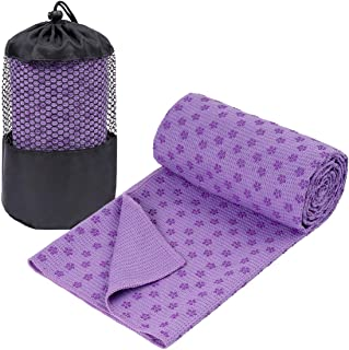 GalSports Non Slip Hot Yoga Towel (Multiple Colors), Skidless Waffle Texture, 100% Absorbent Odorless Microfiber, Standard Sized 24 inchx72 inch Mat Towel, Ideal for Hot Yoga, Bikram, Pilates