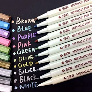 Metallic Marker Pens, Metallic Painting Art Marker Pen Set of 10 Assorted Colors for Photo Album Drawing /Birthday Greeting Gift /Thank You Card, Use on Any Glass, Plastic, Pottery, Wood Surface