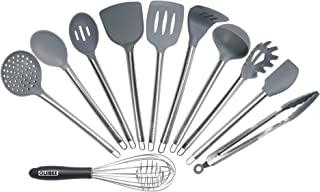Silicone Kitchen Utensil Set,11 PCS OLIIBEE Durable Stainless Handle with Heat Resistant FDA Approved and BPA Free Silicon...