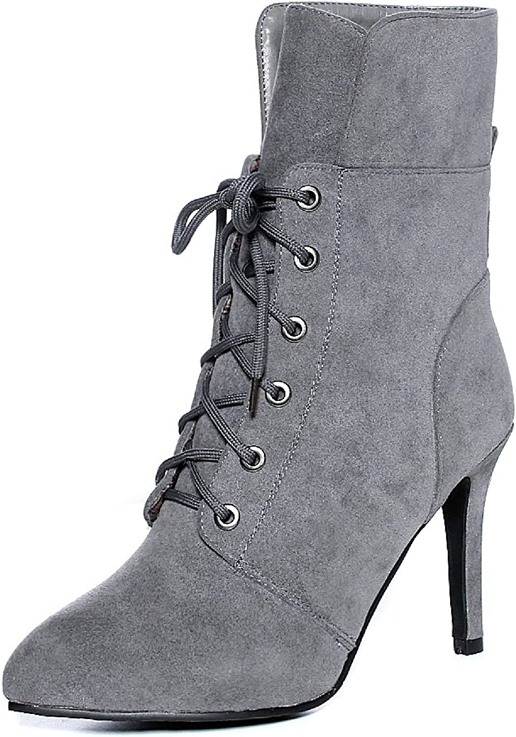 Rongzhi Womens Suede Mid Calf Boots High Heels Pumps Stilettos Pointed Toe Lace Up