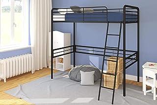 DHP Simple Metal Loft Bed Frame, Multifunctional, Twin Size, Black Black