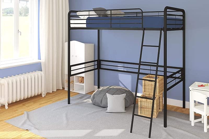 DHP Simple Metal Loft Bed Frame Multifunctional Twin Size Black