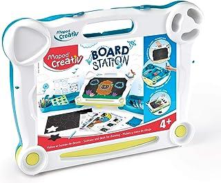 Maped Creativ Board Station - Station de Dessin pour Enfants avec Ardoise Double Face - Dessins Effaçables Craies et Feutr...