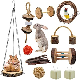 10 Pack Hamster Chew Toy, Small Animal Chewing Toy Natural Wooden Guinea Pig Guinea Pigs Rats Chinchillas Hamster Grinding...