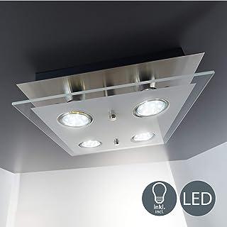 B.K.Licht - Lámpara plafón LED de forma cuadrada con 4 focos y de cristal para interiores con diseño elegante y discreto de luz blanca cálida, 3W y 250 lúmenes, 3000K, color níquel mate