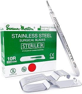 Dermaplaning Kit: Swann Morton 10R Sterile Blades, Stainless Steel (100 pcs) Bundle with Swann Morton Handle No. 3 and Bri...