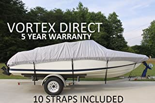 VORTEX HEAVY DUTY VHULL FISH SKI RUNABOUT COVER FOR 17 18 19' BOAT, BEST AVAILABLE COVER GRAY/GREY