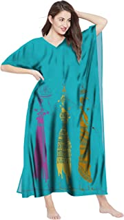 RADANYA Womens Cotton Long African Print Kaftan Beach Swim Cover Up Caftan