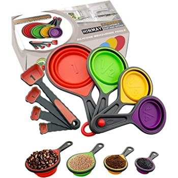 HINMAY Collapsible Silicone Measuring Cups and Spoons Set 8-Piece Measuring Tool