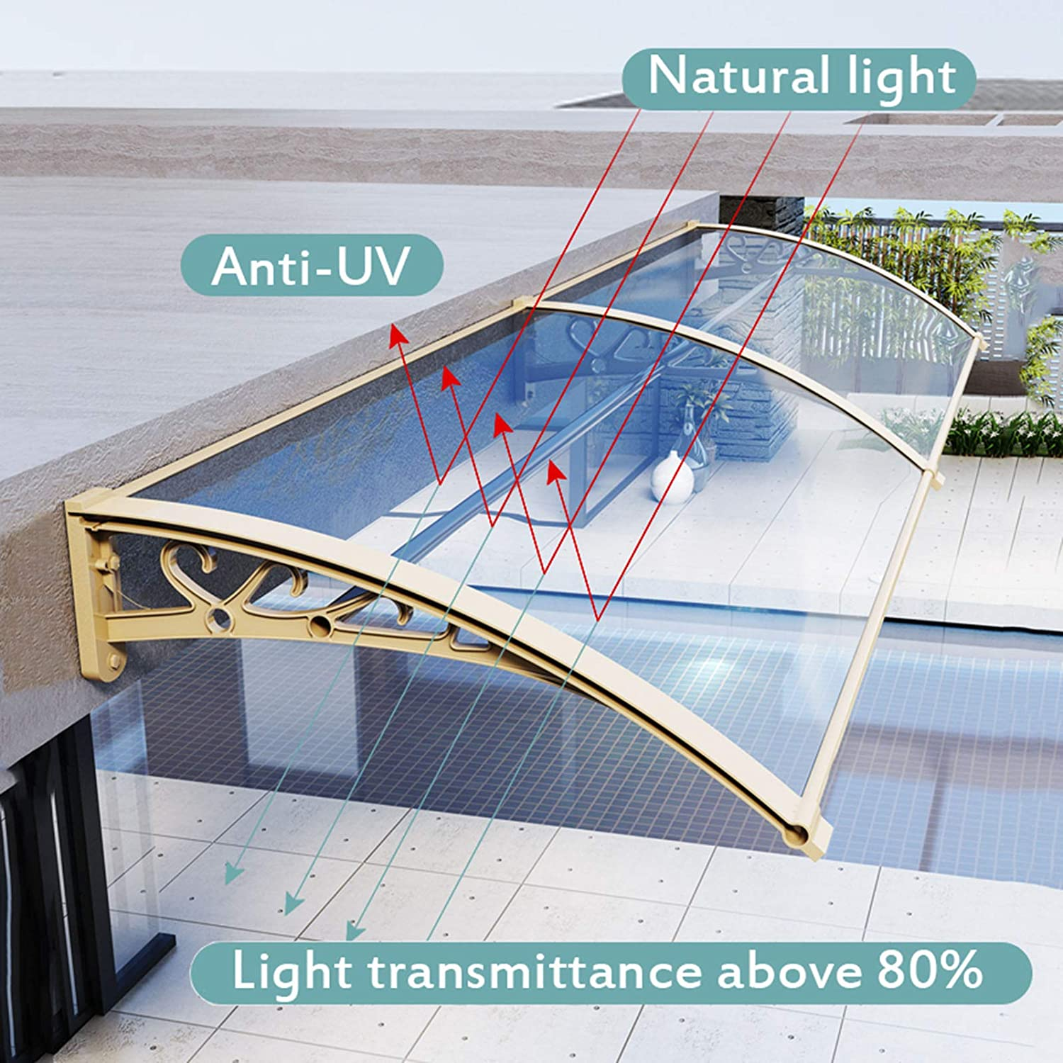 Multiple Size and Colour Modern Window Awning Front Door Canopy Exterior for Rain and Sun Outdoor Patio Canopy Sun Shetter with Thicken Aluminum Brackets