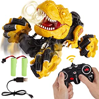 TOEY PLAY Remote Control Dinosaur Toy Car, Off Road Stunt Drift Racing Car for Boys, Rechargeable, Dinosaur Toys with Light and Sound, Gift for Kids