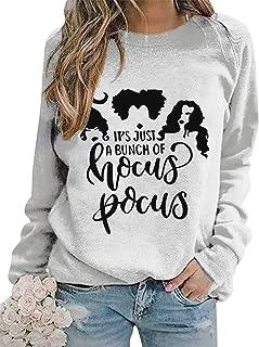 Its Just A Bunch of Hocus Pocus T Shirt Women Halloween Sanderson Sisters Funny Graphic Sweatshirt Tops