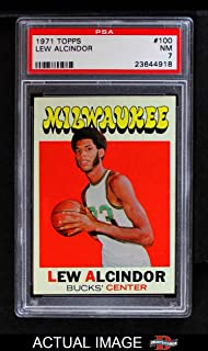 1971 Topps # 100 Lew Alcindor Milwaukee Bucks (Basketball Card) PSA 7 - NM Bucks